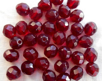25 8mm Ruby Red, Garnet Czech glass beads, firepolished, faceted round beads, C6525