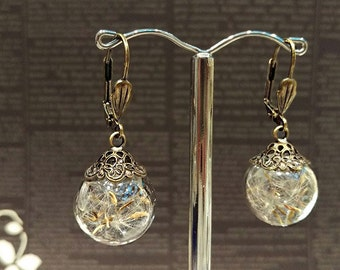 Real Dandelion Glass Globe Earrings, Dandelion Wish Dangle Earrings