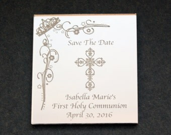 Holy Communion Save the Date magnet with an engraved mirror finish.