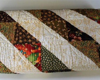 Throw Size Quilt, Handmade Pieced Patchwork Lap Quilt,  Brown, Green, White Quilt, Machine Pieced and  Longarm Quilted