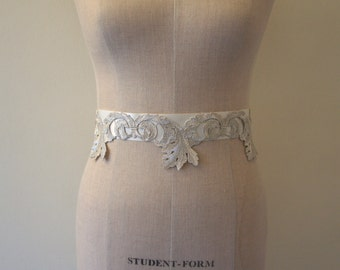 Silver Lace Bridal Sash Wedding Belt