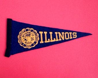 Vintage Mini Team Pennant Flag University of Illinois Sports Retro Navy Blue Black and Yellow