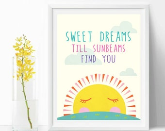 Sweet dreams till sunbeams find you print art, Nursery art typography quote
