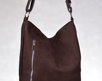 Comfortable Genuine Leather And Nubuck Tote Dark Brown Color