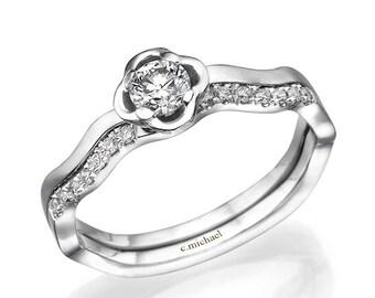 14K white Ring, Flower Engagement Ring, Floral Ring, Engagement Ring, Anniversary Ring, Statement Ring, Promise Ring, Engagement Diamond