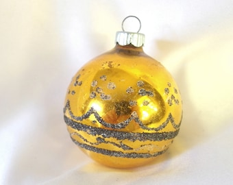 Vintage Christmas Ornament, Black and Gold Shiny Brite Ornament