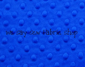 Minky Dimple Dot Fabric - Royal Blue - By the yard