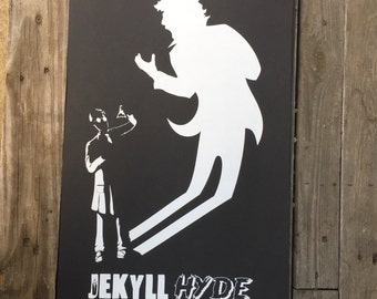 Jekyll and Hyde Black and White Screen Print