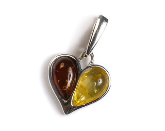 Amber and Silver Dual Heart Pendant with Silver Chain
