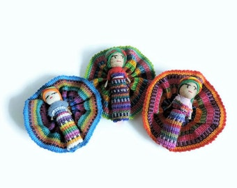 Guatemalan Worry Dolls, Fabric Magnet, Mexican, Trouble Dolls, Cute Magnets, Worry Doll Magnets, Refrigerator Magnets