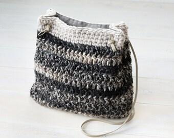 Crochet Grey and Black Ombre Color Block Bucket Bag