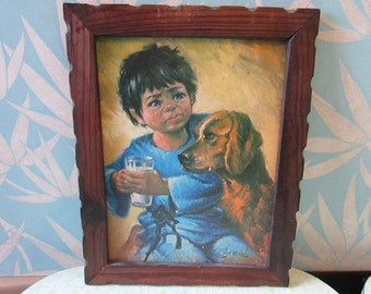 Vintage framed print of Mexican boy with his dog, signed J Monzón