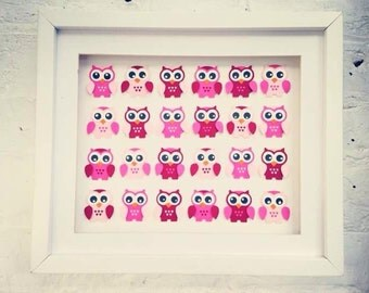 Framed art ~ Pink owl gift ~ 3D wall art ~ pink owl baby shower ~ nursery wall art ~ unique baby gifts