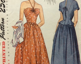 Simplicity 2465 misses strapless sundress and jacket size 14 bust 32 vintage 1940's sewing pattern