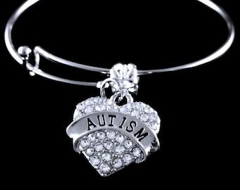 Crystal Heart Autism Bracelet Autism Jewelry autism awareness bracelet Autism awareness charm