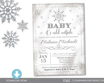Baby It's Cold Outside Invite - Snowflake Baby Shower Invitation - Christmas Winter Wonderland Baby Shower -Instant Download # 033