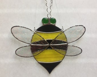 Stained glass bumble bee suncatcher, stain glass bee, fat bee sun catcher, glass bee, honey bee