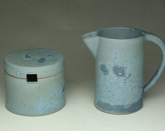 Matt Blue Sugar and Creamer Set