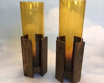 2 - 1960's Steakhouse Amber Glass Wood Frame Vases MCM modern