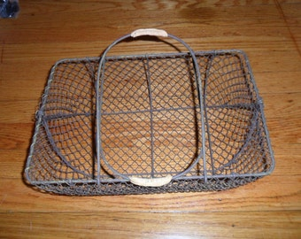 Vintage Metal Wire Mesh Carrier with Rattan Handle Ornamentaion