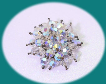 Statement Crystal Brooch Ab Crystals Brooch Vintage Brooch Crystal AB Crystals Vintage jewelry