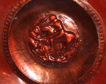Vintage Poland Ornate Copper Wall Plaque Horses