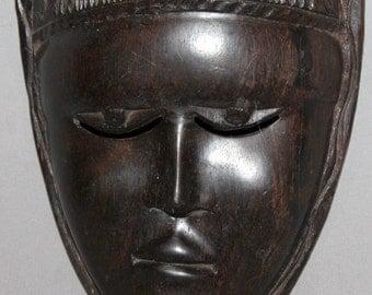 Vintage European Hand Carved Wood Mask Wall Decor