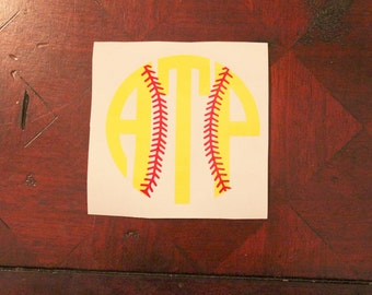 Softball Monogram Decal - Car Monogram - Vinyl Monogram Decal - Monogram Sticker