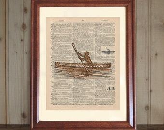Canoe Dictionary Print, Antique Canoe Drawing, 3D Canoe Print, Canoe Wall Art, Cabin / Rustic Decor, Canoe Print on 5x7 or 8x10 Canvas Panel