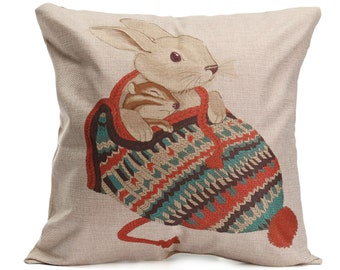 Bunny in hat cushion cover, pillow cover