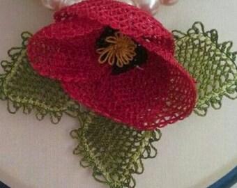 poppy brooch. trationeel handicraft