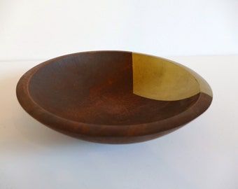 Modern Wood Bowl/Dish - Hand Painted Gold