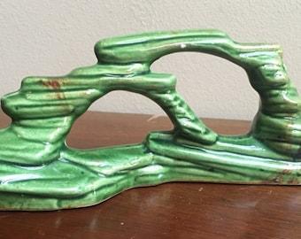Vintage green ceramic rock formation for animal or aquarium fish ceramic
