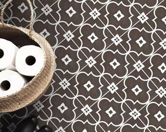 Vinyl Floor Tile Sticker - Floor decals - Carreaux Ciment Encaustic Zellige Tile Sticker Pack in Cafe