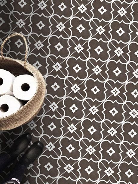 vinyl floor tile sticker floor decals carreaux ciment encaustic zellige tile sticker pack in. Black Bedroom Furniture Sets. Home Design Ideas