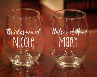 Personalized Bridal Party Wine Glass, Etched Wine Glasses, Bachelorette Party, Bridesmaid Proposal, Matron of Honor Glass, Wedding