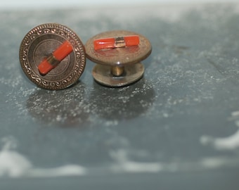 Genuine Vintage Antique Victorian Branch Coral & Gold Filled Pair of Shirt Studs -- Free Shipping!