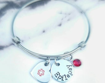 Medical Alert Bracelet - Custom Medical Alert Bangle - Medical ID - Medical Alert Jewelry - Diabetic - Allergy Bracelet - Pretty Bracelet