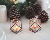 NEW! Glass Geometric Candle Holder / Wedding Lights / Wedding Candles / Geometric Candles / Stained Glass Tealight Candle Holder Set of Two