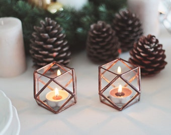 Glass Geometric Candle Holders, Wedding Table Decor, Mothers Day Gift, Copper Home Decor, Hurricanes, Stained Glass Candle Holder Set