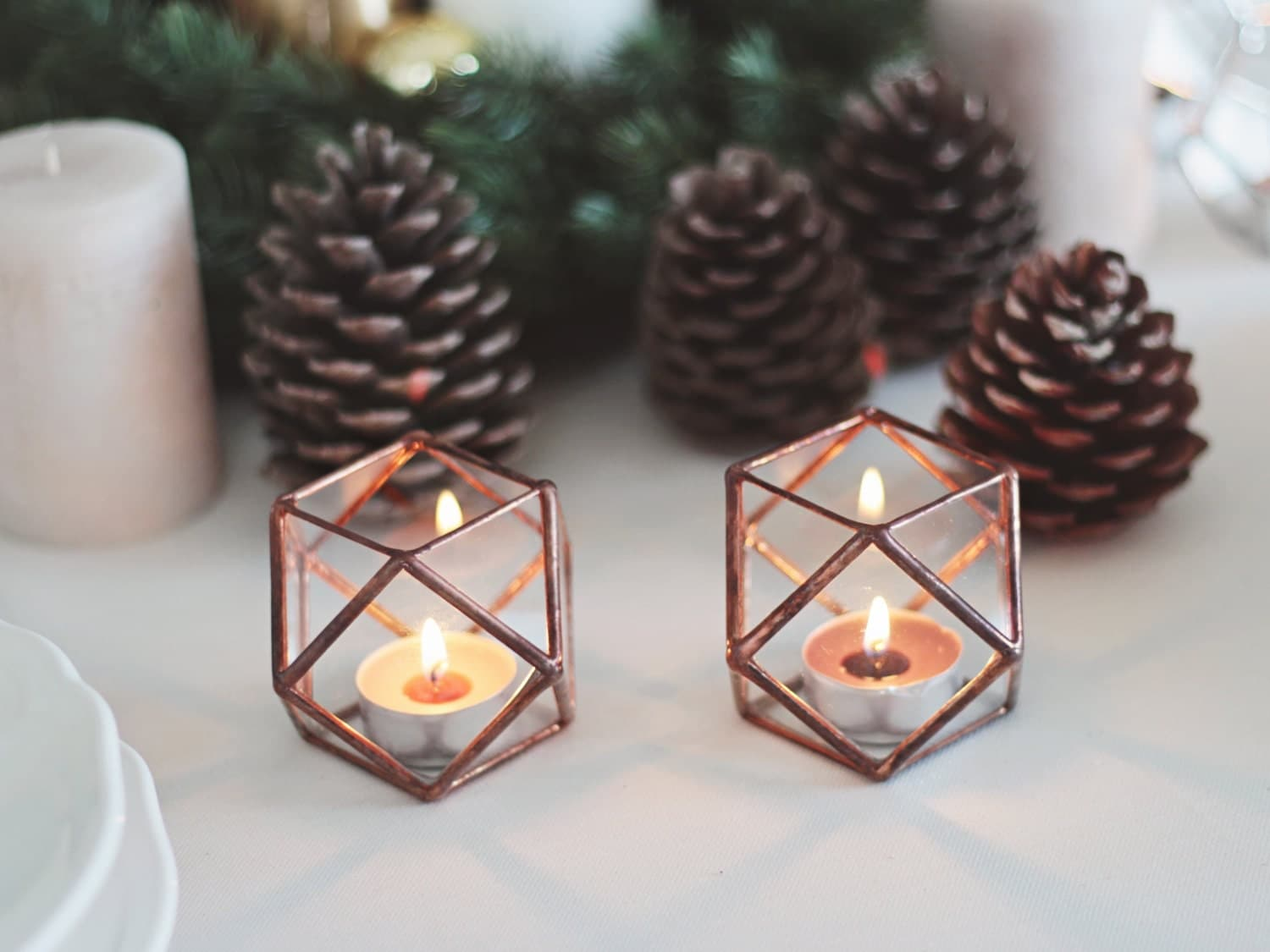 Glass Geometric Candle Holders Wedding Table Decor Halloween