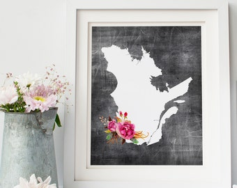 quebec printable map, affiche quebec, affiche fleur, map print gallery wall print