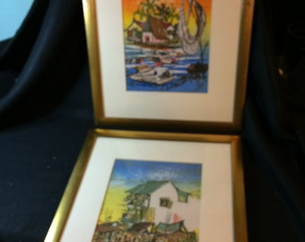 Pair of Tropical Island Vacation Scenes on Material, under glass