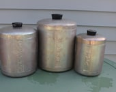 Kitchen Canister Set 1940's 3 piece aluminum with matching lids