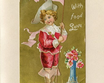 Vintage Valentine's Day Postcard Cute Boy in Red and White Victorian Suit Boots and Hat Vase by Langsdorf Embossed Used Watertown NY 5364Pd