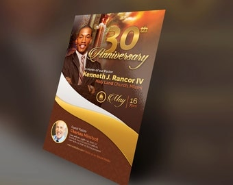 Pastor's Anniversary Church Flyer Photoshop Template 4x6