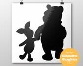 Winnie the pooh, winnie the pooh, silhouette, file, svg, eps, disney, font, monogram, princess, large, graphic, illustration, art