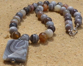 Botswana Agate Necklace Pendant Hill Tribe Silver Hook Clasp Brown Grey Gray Gemstone Necklace Gemstone Jewellery Natural Stone