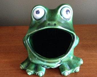 Items similar to vintage frog sponge holder with mushroom shaker 1970 39 s on etsy - Frog sponge holder kitchen sink ...