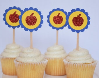 Snow White Red Apple Birthday Party Cupcake Toppers, Set of 12